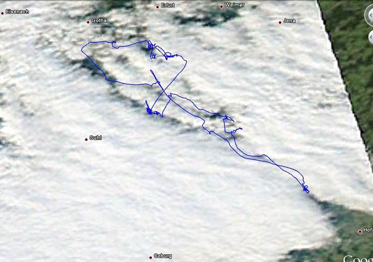 hoch aufgelöstes Satellitenbild (Aqua) mit Flugweg Christof Maul