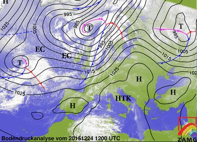 Bodendruckanalyse 24.12.15, 12 UTC