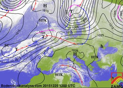 Bodendruckanalyse 25.12.15, 12 UTC