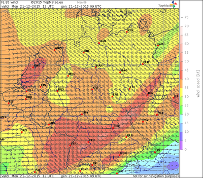 Windvorhersage FL85, 21.12.15, 12 UTC