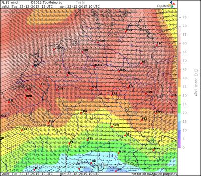 Windvorhersage FL85, 22.12.15, 12 UTC