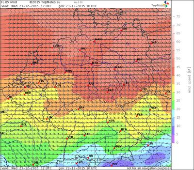 Windvorhersage FL85, 23.12.15, 12 UTC