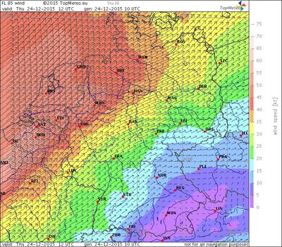 Windvorhersage FL85, 24.12.15, 12 UTC