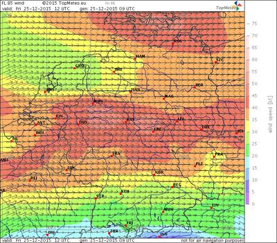 Windvorhersage FL85, 25.12.15, 12 UTC