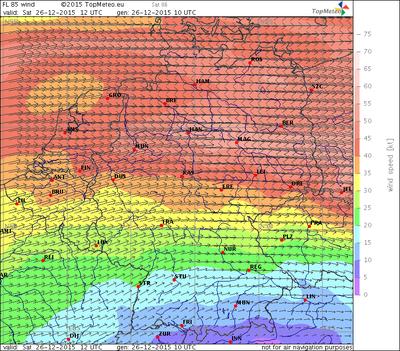 Windvorhersage FL85, 26.12.15, 12 UTC
