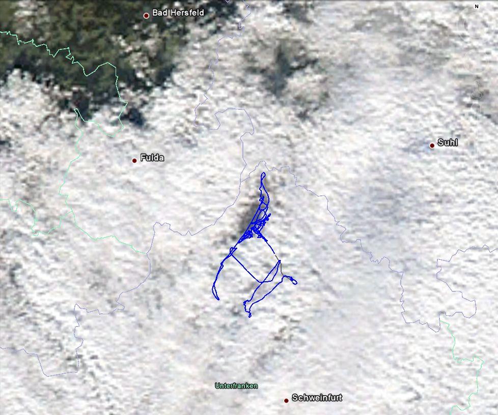 Flugweg und Satellitenbild in Google Earth