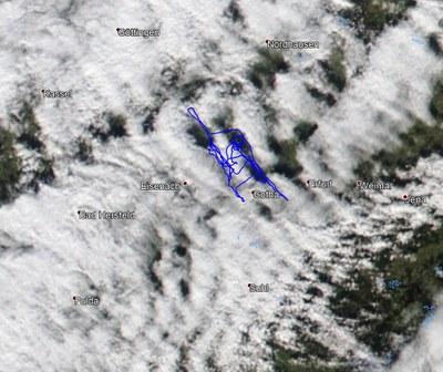 Flugweg und Bewölkung (Satellit NOAA-20)