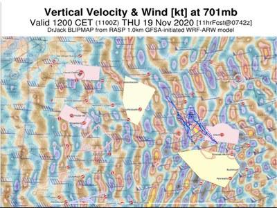 Flugweg und vorhergesagte Steiggebiete von RASP NL (1 km Auflösung)