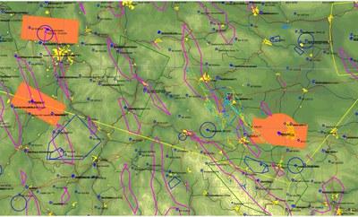Flugweg und vorhergesagte Steiggebiete des DWD  (als Wavemap-Luftraumdatei)